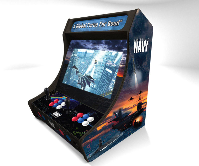 Navy-themed Arcade Machine Cabinet For USN Recruiter