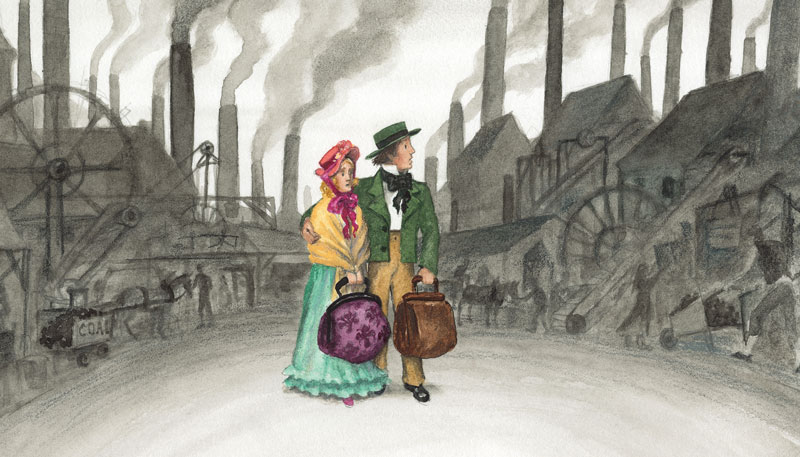 The change was called the Industrial Revolution. Large factories were spreading across England, replacing the small family-run businesses. The Coles' little wool business suffered. Thomas was pulled out of school and put to work printing patterns on fabric. Life in England grew hard for the Coles. They decided to try their luck in America.