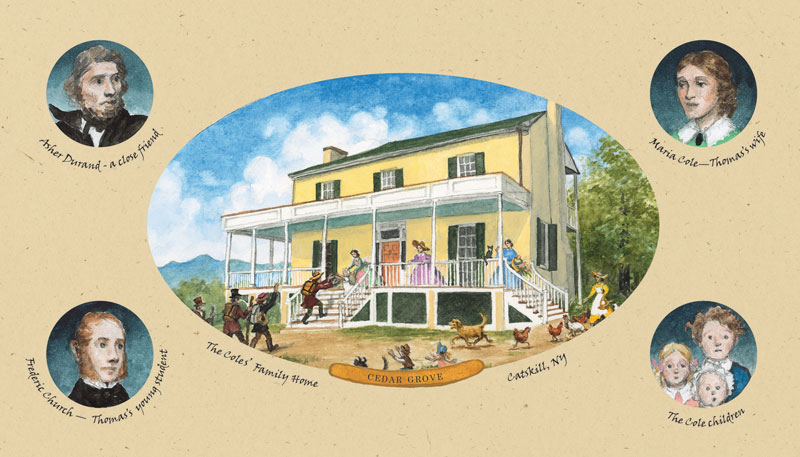 Thomas was now the most famous artist working in America. He still loved to go to the Hudson Valley, where he kept a studio on a farm near Catskill Village. It was there that he met Maria Bartow, who soon became his wife. The couple's home was filled with many family members, visitors and friends. Among them were the artists Asher Durand and Frederic Church, both of whom followed in Thomas's footsteps of landscape painting.